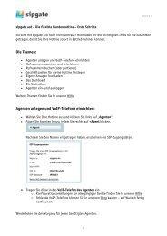 Die Themen: Agenten anlegen und VoIP-Telefone ... - Sipgate