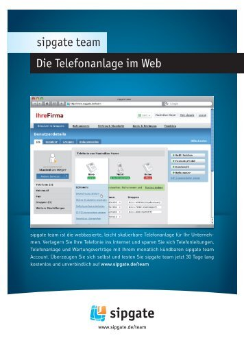 Die Telefonanlage im Web - Sipgate