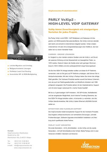PARLY VoXip2 - HIGH-LEVEL VOIP GATEWAY - VoipConnection