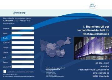 1. Branchentreff der Immobilienwirtschaft im Hochsauerlandkreis