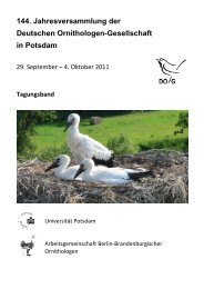 144. Jahresversammlung der Deutschen Ornithologen ... - DO-G