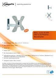 LED/LCD/Plasma- Wandhalter WALL 1125 SILVER
