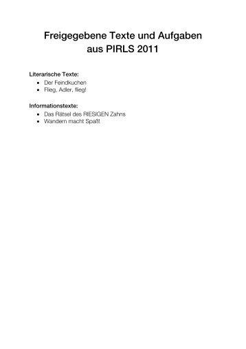 Freigegebene Texte und Aufgaben aus PIRLS 2011 - Bifie