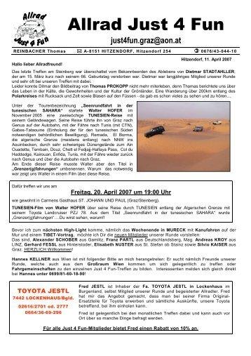 Ablaufplan Samstag, 5. Mai 2007 in MURECK - Allrad Just 4 Fun