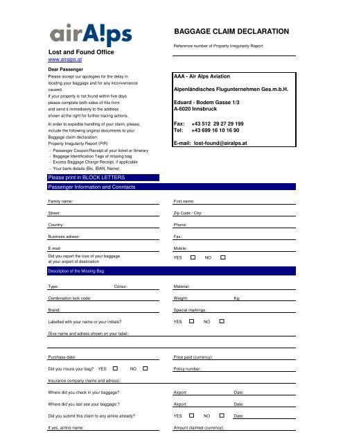 baggage claim declaration form and inventory list air alps