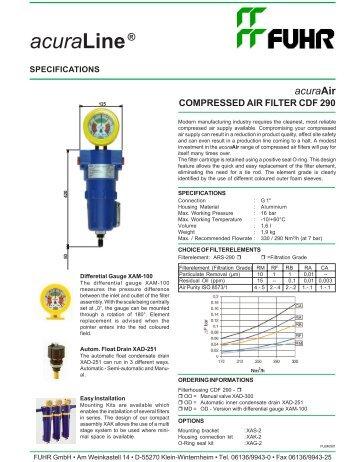 acuraAir COMPRESSED AIR FILTER CDF 290 - Fuhr GmbH