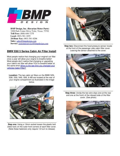 BMW E60 5 Series Cabin Air Filter Install - BMP Design