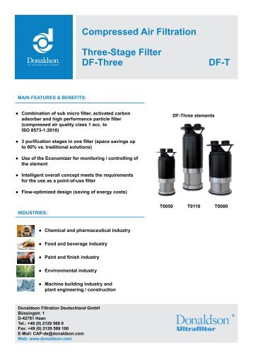 Compressed Air Filtration Three-Stage Filter DF-Three DF-T
