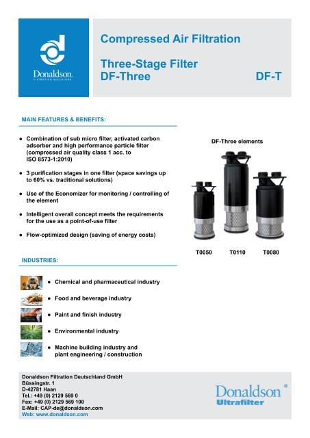 Compressed Air Filtration Three Stage Filter Df Three Df T