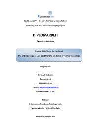 Summary Diplomarbeit - AK Freizeit- und Tourismusgeographie