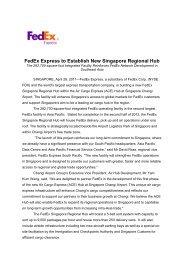 FedEx Express to Establish New Singapore Regional Hub