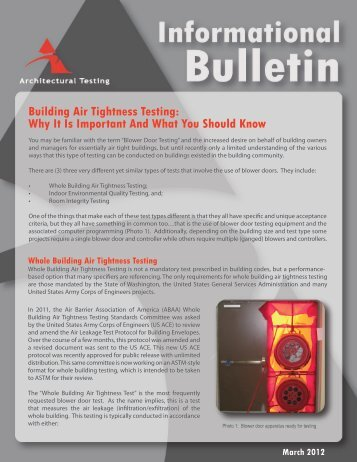 Building Air Tightness Testing - Architectural Testing