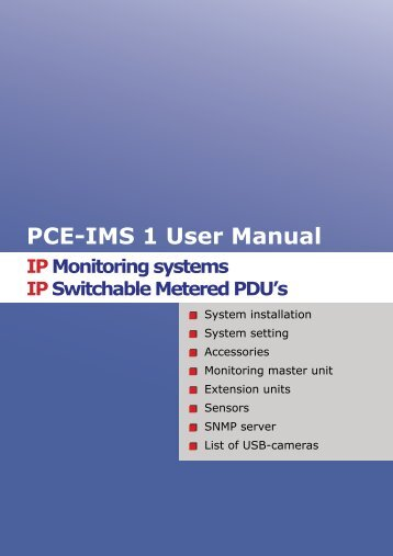 PCE-IMS 1 User Manual IPMonitoring systems IPSwitchable ...
