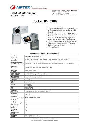 AIPTEK POCKET DV5300 DRIVERS FOR PC