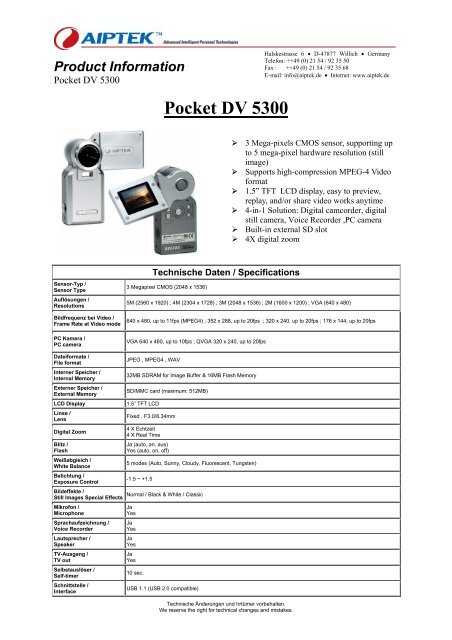 Driver for Aiptek Pocket DV5300