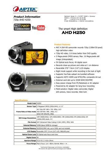 PocketDV AHD H250 datasheet