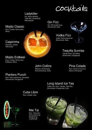 Long Island Ice Tea Caipirinha Mojito Classic Mojito Erdbeer Gin ...