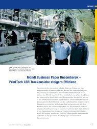 PrintTech LBR Trockensiebe steigern Effizienz - Voith