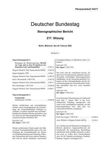 Stenographischer Bericht 217. Sitzung - Deutscher Bundestag