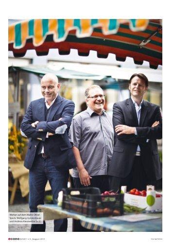 Werber auf dem Markt: Oliver Speck, Wolfgang Gerstenhauer und ...