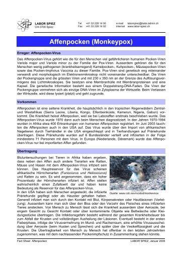 Fact Sheet Affenpocken (Monkeypox, PDF, 67 KB) - Labor Spiez