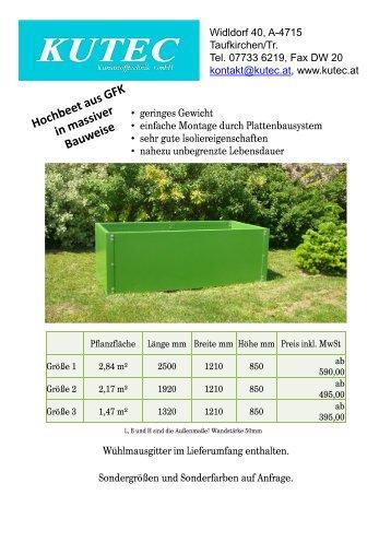 Hochbeete – Standardfarben Grün (RAL 6025) Braun (RAL 7022)