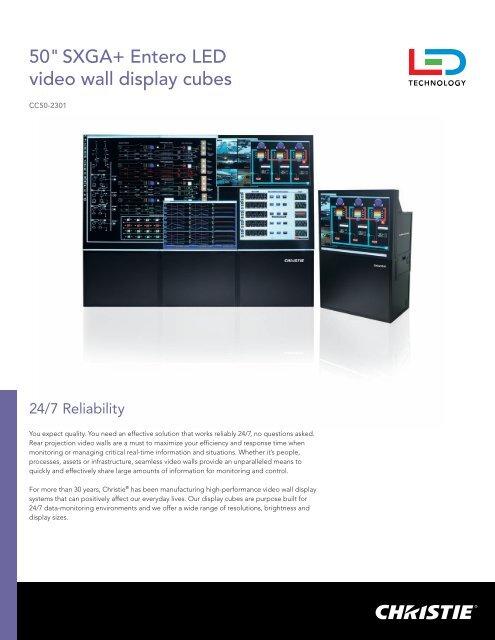 "50"" SXGA+ Entero LED video wall display cubes - Christie Digital ..."