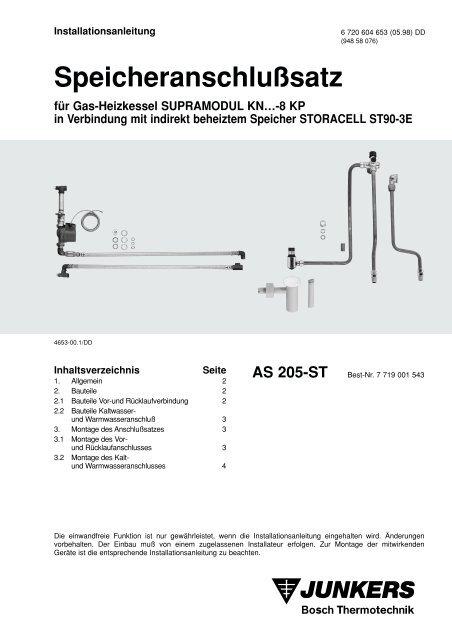 Speicheranschlußsatz für Gas-Heizkessel SUPRAMODUL ... - Junkers