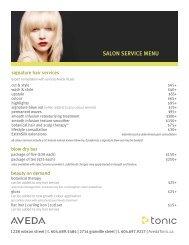 Salon Service menu - Tonic Aveda