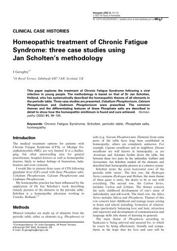 Homeopathic treatment of Chronic Fatigue Syndrome