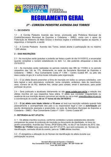 1ª - CORRIDA PEDESTRE AVENIDA DAS TORRES - Prefeitura de ...