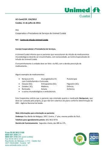 UC-ComE/Of. 154/2012 Cuiabá, 11 de julho de ... - Unimed Cuiabá