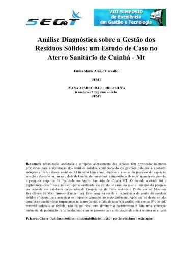 Análise Diagnóstica sobre a Gestão dos Resíduos Sólidos ... - aedb