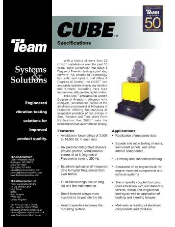 CUBE Data Sheet 11X17 - TEAM Corporation