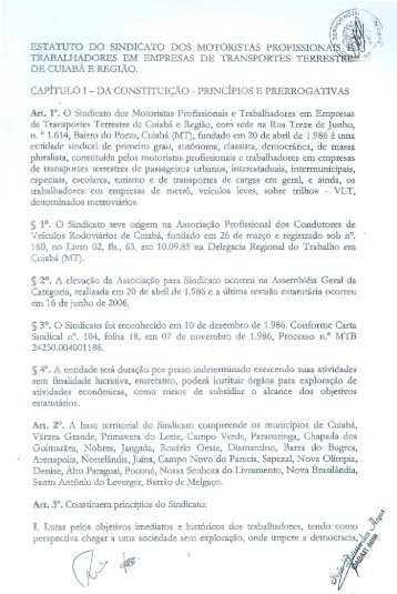 Estatuto Sindical - Cuiabá
