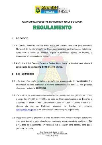 Secretaria Municipal de Esportes e Cidadania - Prefeitura de Cuiabá