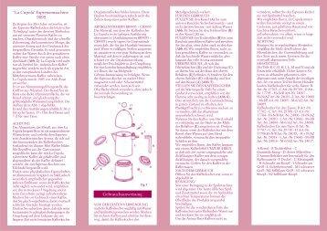 """Gebrauchsanweisung """"La Cupola"""" Espressomaschine ... - Lothar John"""