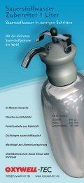 Sauerstoffwasser Zubereiter 1 Liter - OXYWELL-TEC