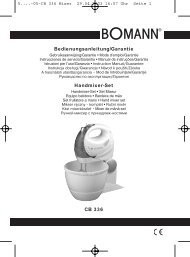 CB 336 Bedienungsanleitung/Garantie Handmixer-Set - Azon.lt