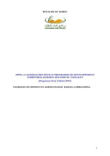 TdR chrg. miss. agroecologie - PNUD