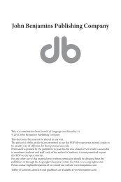 Location, lore and language - John Benjamins