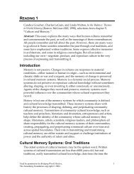 Introduction Cultural Memory Systems: Oral Traditions