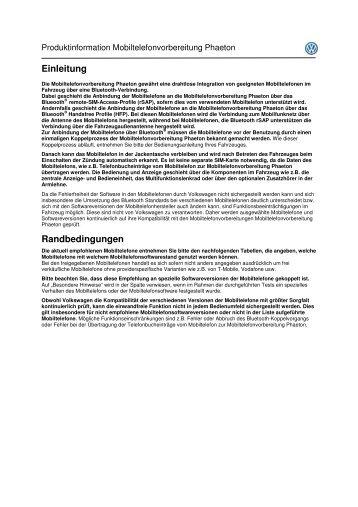 Datenverbindung mittels Dial-Up-Network (DUN) - Volkswagen ...