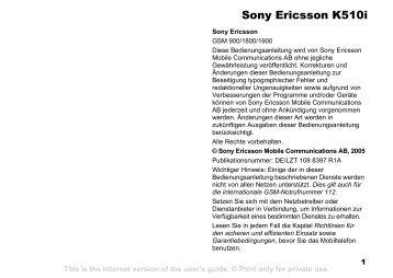 Sony Ericsson K510i - Unitel2000.net