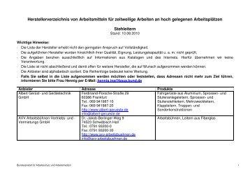 Stehleitern - Bundesanstalt für Arbeitsschutz und Arbeitsmedizin