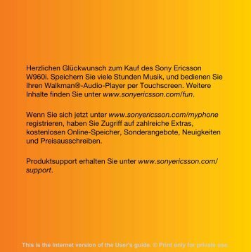 Bedienungsanleitung Sony-Ericsson W960i - Altehandys.de