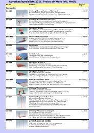 Abverkaufs-Preisliste 2011 generell - DTB - Live Ticker