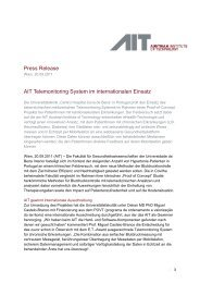 Press Release AIT Telemonitoring System im internationalen Einsatz