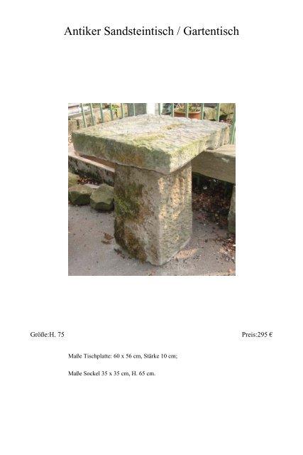 Antiker Sandsteintisch Gartentisch
