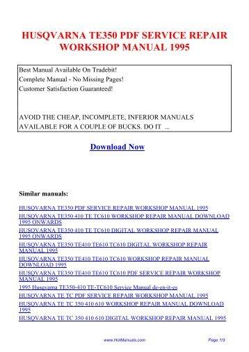 husqvarna te tc 350 410 610 workshop repair manual download 1995
